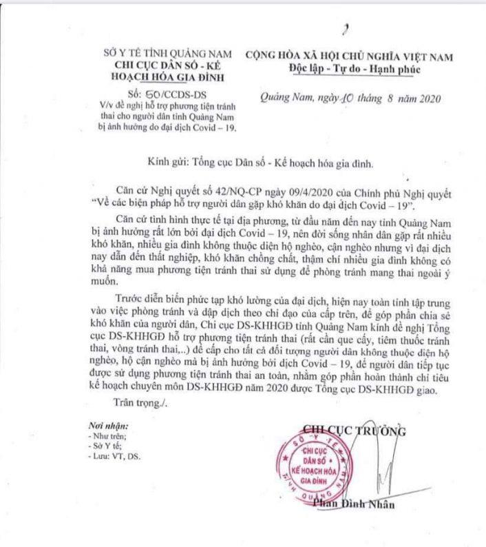 Văn bản của Chi cục Dân số kế hoạch hóa gia đình Quảng Nam gửi Tổng cục - Ảnh: M.T.